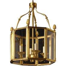 LOUIS XVI Style gilded bronze four light hexagonal lantern.