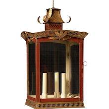 PAGODA Style painted tole three light lantern