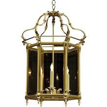 DUTCH Style brass hexagonal lantern, three lights.
