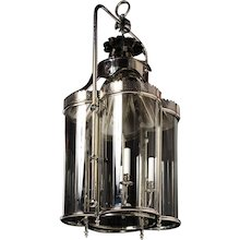"""""""WEXFORD"""" Nickeled brass four light lantern with curved glass panels."""