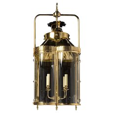 """WEXFORD"" Brass four light lantern with curved glass panels"