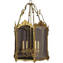 LOUIS XV Style gilded bronze four light lantern