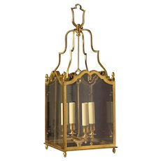 LOUIS XV Style gilded bronze square four light lantern, antique finish.