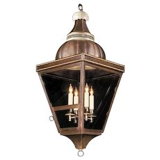 EMPIRE Style painted and patinated tole four light lantern with gilded bronze beading