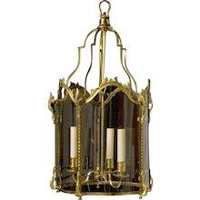 LOUIS XV Style gilded bronze three light lantern