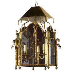 CHINOISERIE Style gilded bronze three light lantern