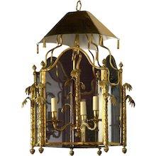 CHINOISERIE Style gilded bronze three light lantern