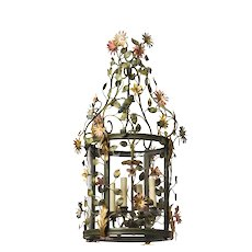 """""""FLORAL"""" Motif gilded and painted iron four light lantern"""