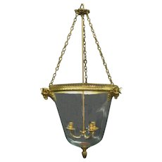 Louis XVI Style bronze and glass three-light lantern