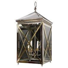 Louis XVI Style bronze and glass three-light lantern