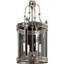 """""""ARUNDEL"""" Nickeled brass four light round lantern"""