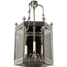 """ARUNDEL"" Nickeled brass three light hexagonal lantern"