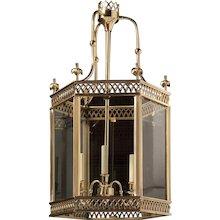 ARUNDEL Polished brass three light hexagonal lantern