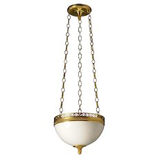 Giltded bronze and opaline glass three light pendant with half circle gallery