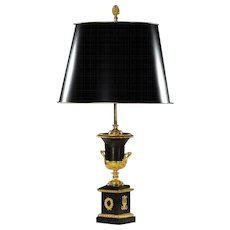 EMPIRE Style gunmetal and gilded bronze table lamp with tole shade