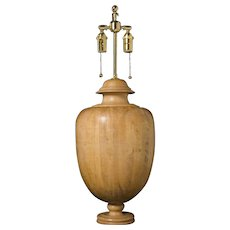 """MEDICI"" Urn shaped wooden table lamp with French polished finish"