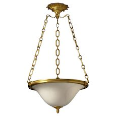 Opaline glass six light pendant with gilt bronze frame