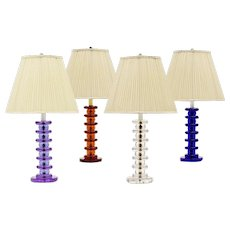 ART DECO Style mauve colored crystal table lamp