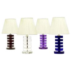 ART DECO Style large mauve colored crystal table lamp