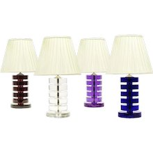 ART DECO Style large cobalt colored crystal table lamp