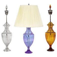 Mauve colored crystal table lamp with matching crystal finial