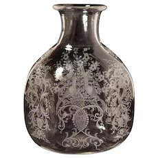 Hexagonal shaped hand etched Venetian glass vase with birds and foliate scroll motif. Can be wired as a lamp