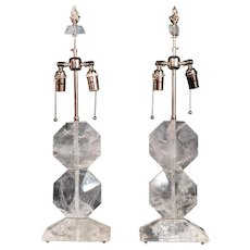 Art Deco style rock crystal lamps, 20th Century
