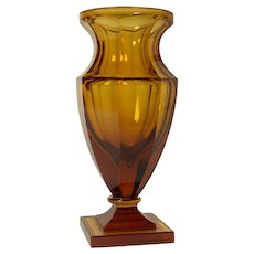 Amber colored crystal vase lamp