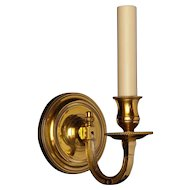 Gilded bronze one light sconce with square arm and beaded back