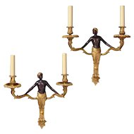 """NUBIAN"" Motif black and gilded bronze two light sconce"