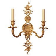 LOUIS XV Style gilded bronze five light sconce