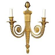 """CLASSIQUE"" gilded bronze two light sconce"