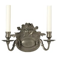 DUTCH Style pewter finished bronze two light sconce with mask