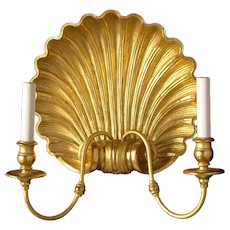 Giltwood and gesso shell sconce, two lights