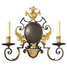 """MONACO"" dark bronze and gilt two light sconce"