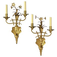 """BOUQUET"" dark bronze and gilt two light left and right sconce"