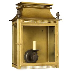 Gilded tole and oxidized bronze wall lantern