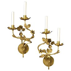 Gilded bronze left and right two light sconce with raised flowers