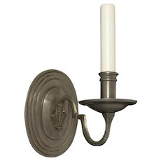 DUTCH Style pewter finished bronze one light stepped back sconce