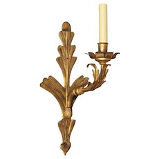 Distressed gilded iron leafy back one light sconce
