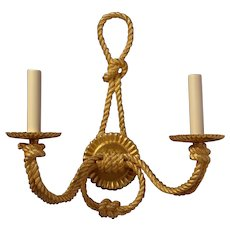"""""""ROPE"""" Motif, gilded bronze two light sconce"""