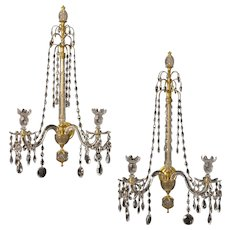ADAM Style crystal and gilded bronze two light sconce
