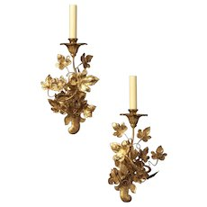 """""""LEAF"""" Motif gilded iron one light left and right facing sconce"""