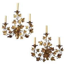 """LEAF"" Motif gilded iron three light left and right facing sconce"