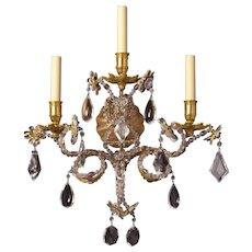 MARIE-ANTOINETTE Style crystal and gilded iron three light sconce