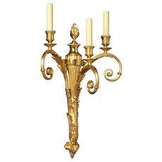 LOUIS XVI Style gilded bronze three light sconce