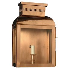 Copper lantern with open grill chimney
