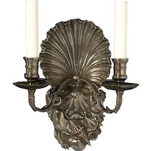 """""""SHELLS"""" Motif silvered bronze two light sconce"""