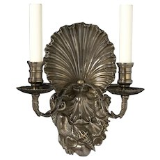 """SHELLS"" Motif silvered bronze two light sconce"