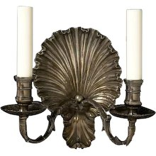 """""""COQUILLE"""" Motif silvered bronze two light sconce"""